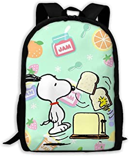 Custom Snoopy Eating Bread Casual Backpack School Bag Travel Daypack Gift
