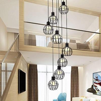 ZQG Araña Creativa Escalera de Caracol de la lámpara Retro Industrial Moderna Minimalista Villa nórdica Estilo de la Sala Duplex Loft Pendiente de la luz Larga de la lámpara: Amazon.es: Hogar