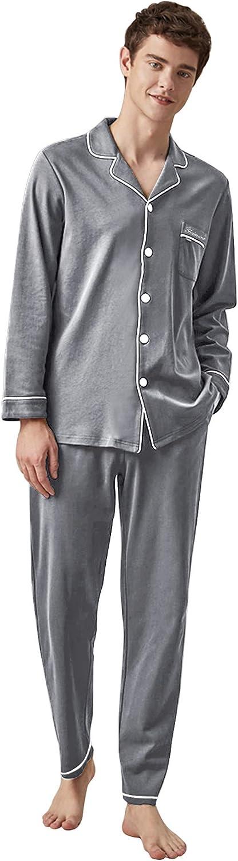 Mens Long Sleeve Pajamas Set,Button Down 6 Piece pjs Set Men,Cotton Sleepwear Set for Men