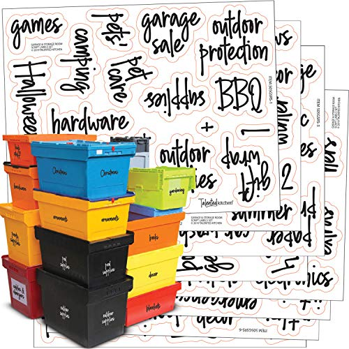Talented Kitchen 136 Storage Room & Garage Organization Labels. Black Script Preprinted Labels. Water Resistant Black on Clear Stickers. Organization System Labels for Bins & Boxes Holiday & Essential