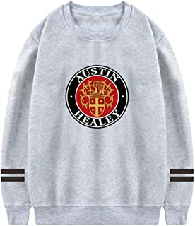 Mens Pullover Aust-in HEA-Ley Emblem Crewneck Sweatshirt Athletic Sweater Cotton Pullover