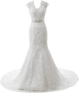 Ubridal Real Pictures Embroidery Lace Mermaid Court Wedding Dresses Bridal Gowns