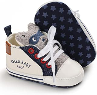 myggpp Tutoo Unisex Baby Boys Girls Sneaker Soft Anti-Slip Sole Newborn Infant First Walkers Canvas Shoes Lace Up(Infant/Toddler)