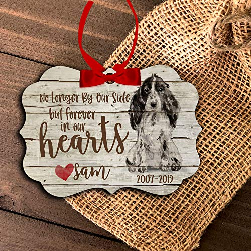 Pet Memorial Christmas Ornament Forever in Our Hearts Dog Ornament No Longer by Our Side Dog Memorial Ornament Mbo-067-Dog