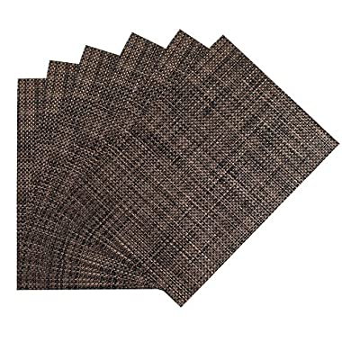 Benson Mills Longport woven Vinyl Placemat (Set of 6), Tobacco, 13 x 18