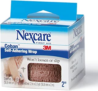 Nexcare Coban Self-Adherent Wrap, 2-Inch x 5-Yard Roll, 1-Count Boxes (Pack of 6)