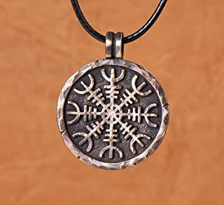 Helm of Awe Necklace Handcrafted Viking Protection Symbol Aegishjalmur Norse Viking Jewelry for Men and Women