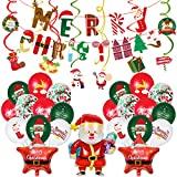 Merry Christmas banners, Santa Claus balloons, Christmas latex balloons, spirals, Christmas themed party decorations.
