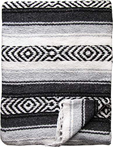 threads west Genuine Mexican Handwoven Blanket, Premium Large Heavyweight Falsa Blanket, Serape & Yoga Blanket | Beach Blanket | Throw Blanket | Picnic Blanket (Large Heavy, Dark Gray)