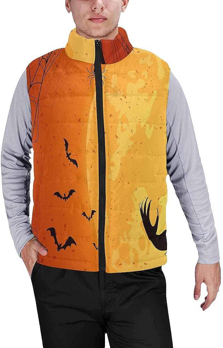 InterestPrint Men's Winter Warm Outdoor Padded Puffer Vest Halloween Wolf M