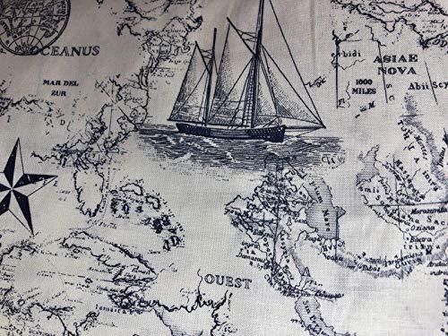 Nautical, Map, Window, Curtain, Valance, Sale 43 Wide x 15 Long