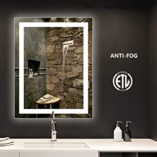 smartrun Bathroom LED Backlit Mirror with Anti-Fog Function - Horizontally and Vertically Wall-Mounted Vanity Sink Mirror, Perfect for Home Use or Hotel Supplies(No Touch Button), 28x36inch