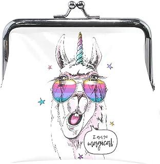 Porte-monnaie amusant licorne lama lunettes mignonne porte-monnaie rétro avec boucle de fermeture à bisou