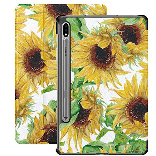 Happy and Beautiful Sunflower Funda Galaxy Tab S7 Plus para Samsung Galaxy Tab S7 / s7 Plus Funda Galaxy Tab E Soporte Contraportada Fundas Galaxy Tab A para Galaxy Tab S7 11 Pulgadas S7 Plus 12,4 PU