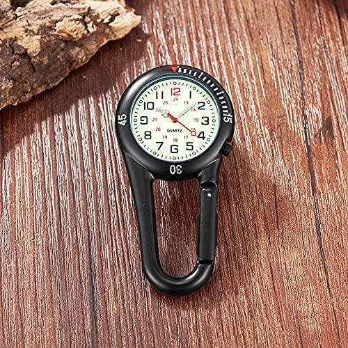 QQJL Mirabiner Watch Outdoor Sports Hook Lock Watch Strong Luminoso Reloj de Cintura Luminosa Retro Interestelar Mira Conmemorativa,Black~a