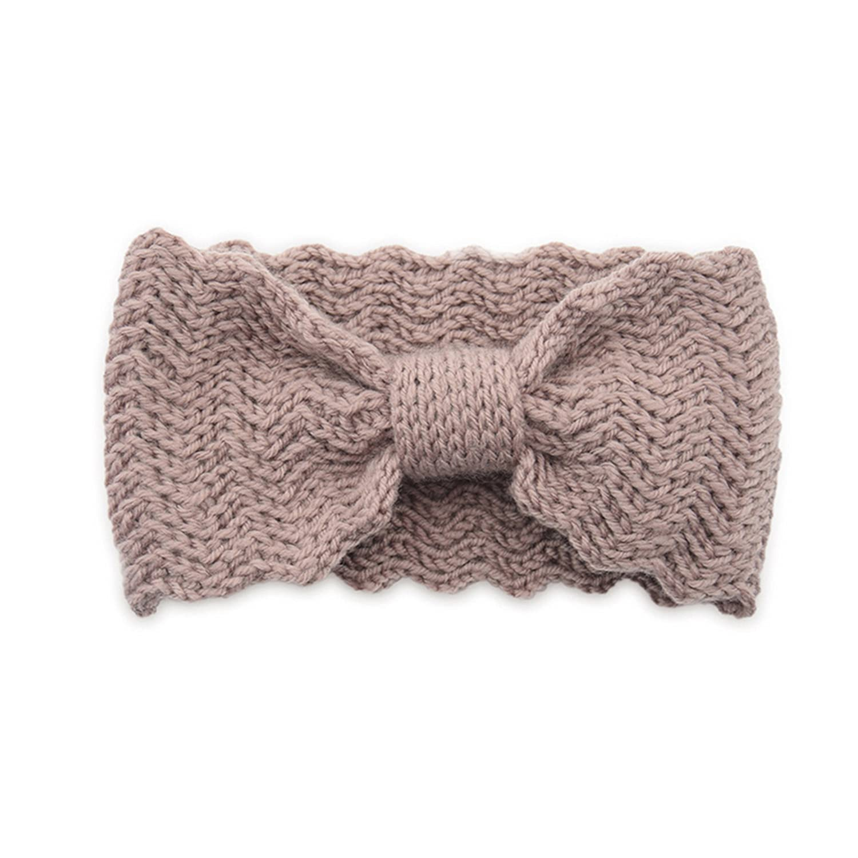 1PC Winter Warmer Ear Knitted Hairband Bow Waves Elastic Headband For Women Girls Solid Color Turban Hair Accessories Head Warp dark pink
