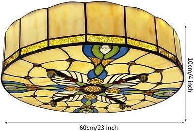 Amazon.com: Lámpara de techo redonda estilo Tiffany, de ...