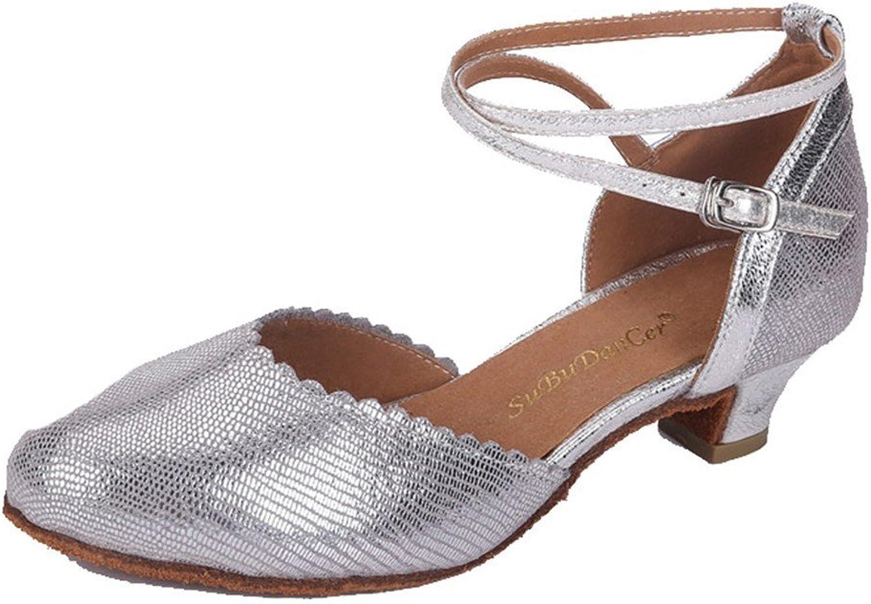 WXMDDN Latin Dance shoes Silver Dance shoes 3.5cm Indoor Dance shoes Leather Dance shoes Soft Floor Jazz Dance Dance shoes