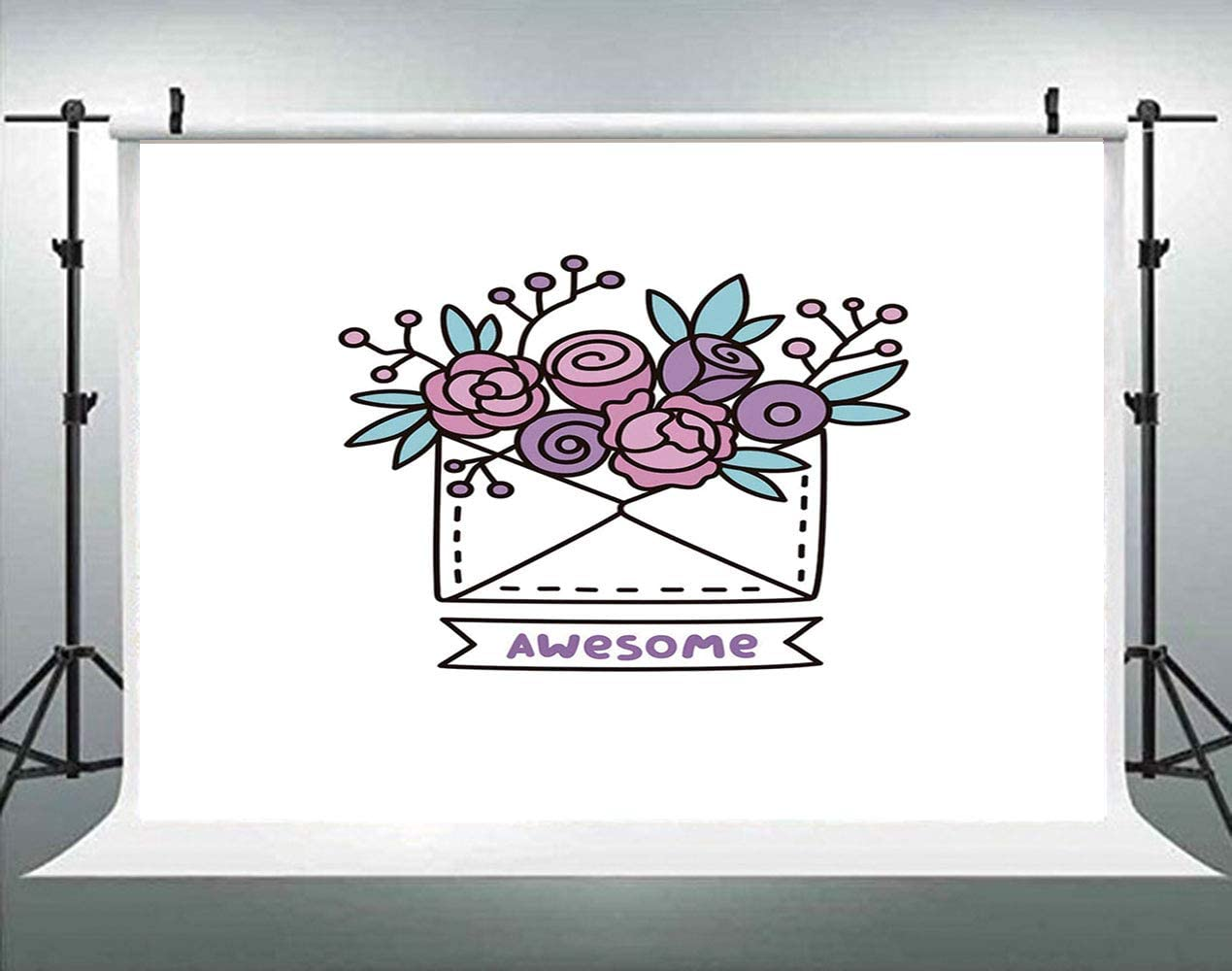 ALUONI 5x3ft Saying Colorful Composition with Doodle Pattern Motivational Message Backdrop for Photography Photo Background Props Photography AM028588