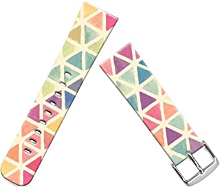 Band Compatible with Iwatch 44mm/42mm & Cisland Leather Strap Compatible with Apple Watch Series 1/2/3/4/5 Sport & Edition Vintage Colorful Beautiful Triangles Pattern