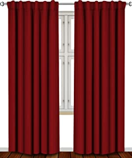 Utopia Bedding Blackout Room Darkening and Thermal Insulating Window Curtains/Panels/Drapes - 2 Panels Set - 7 Back Loops per Panel - 2 Tie Backs Included (Burgundy, 52 x 84)