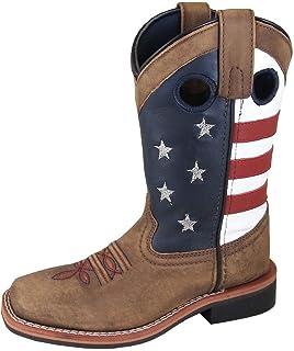Smoky Children's Stars and Stripes Patriotic Western Cowboy Boot - Vintage Brown