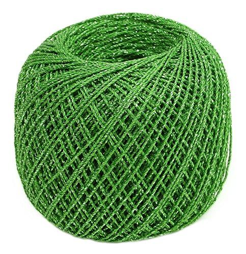 オリムパス製絲 タティングレース糸 ラメ レース糸 Col.T405 黄緑 系 約40m 3玉セット