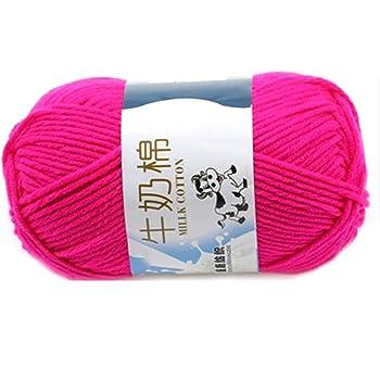 Suave Suave Leche de algodón natural de la mano de tejer lana de lana bola del hilado del bebé Craft-Rose Red: Amazon.es: Hogar