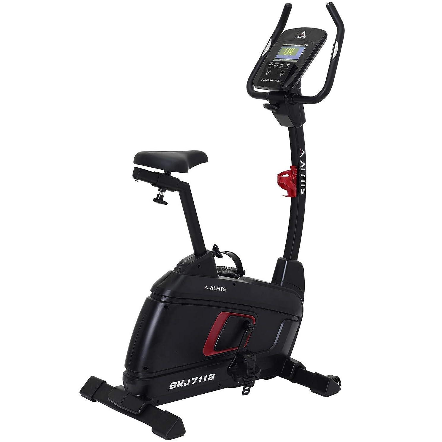 ベスビオ山リットル魅了するALINCO(アルインコ) フィットネスバイク プログラムバイク LUXE 負荷調節24段階 体脂肪?心拍数測定 12種プログラムモード ハンドルサドル調節可 キャスター付き BKJ7118