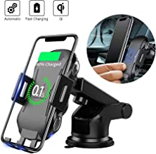 Qi Wireless Car Charger Mount, MOUNTDOG Automatic Clamping 10W Fast Charging Cell Phone Holder for Car, Car Phone Mount Compatible with iPhone 11/Pro/Pro Max/8/8 Plus/Xs/Xs Max/XR/X, Samsung and More