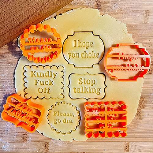 1 juego / 4 piezas Moldes para galletas con buenos deseos, molde para hornear cortador de émbolo para tartas 3D ideal, forma de galleta con frases divertidas e irreverentes