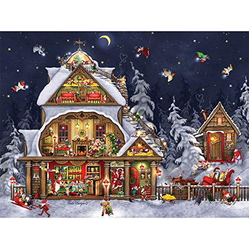 Bits and Pieces - 300 Large Piece Jigsaw Puzzle for Adults - Santa's House - 300 pc Christmas, Holiday Jigsaw by Artist Tuula Burger