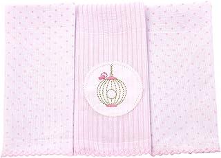 Papi Textil Paninho de Boca Poá Bordados Karinho, Rosa, 32cmx32cm, pacote de 3