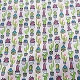 Stoff Baumwollstoff Meterware Hellgrau Kaktus Kakteen grün bunt Kleiderstoff Dekostoff