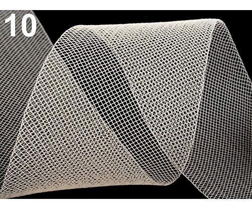 20m 10 (cc15) Hell-créme Versteifungsband Crinoline/Tüll Fein Breite 4,5 Cm, Versteifungsbänder Und Vogelkäfig Schleier, Modistenbedarf, Kurzwaren