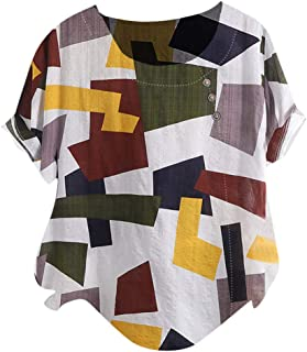 ❀♪ Women's Short Sleeve Cotton Linen Jacquard Blouses Top T-Shirt Linen Retro Chinese Frog Button Tops Blouse