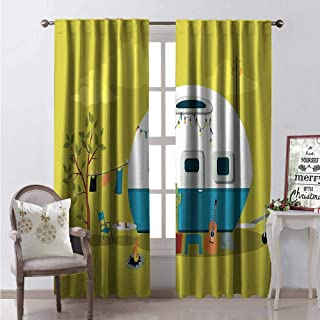 Hengshu Camping Blackout Window Curtain Parked Trailer Guitar Cactus Laundry and Fire Pit Road Trip Customized Curtains W96 x L96 Yellow Green and Multicolor