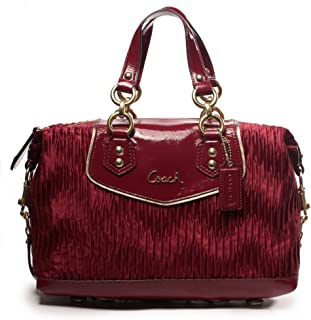 Coach Ashley Gathered Sateen Satchel - Bordeaux