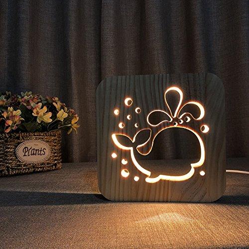 3D Whale Wooden Desk Lamp