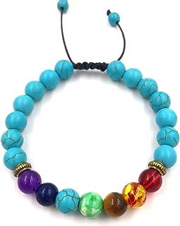 Handmade 8mm Lava Rock Colorful Natural Stone Beads Adjustable Link Chain Stretch Bangle Bracelets Friendship Couple Yoga ...