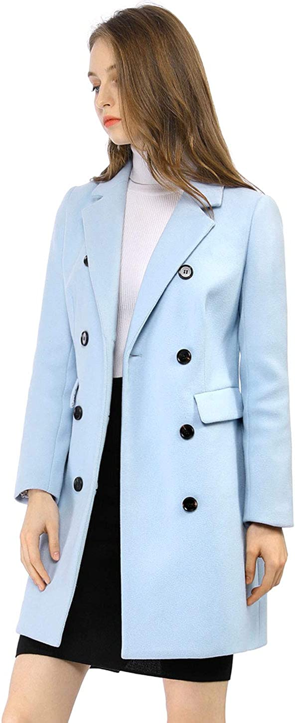 Allegra K Womens Winter Coat Elegant Notched Lapel Double Breasted Trench Coat
