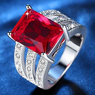 HYLJZ Anello Exquisite Huge Red Stone Ring for Women Rhodium Plated Micro Pave Cubic Zirconia Ladies Party Jewelry