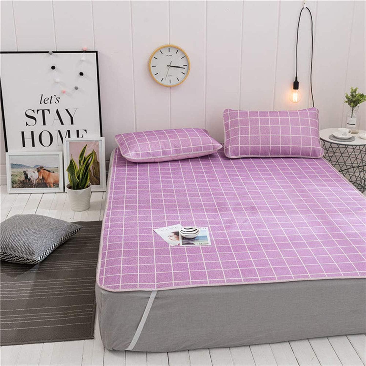 Summer Mattress, Three-Piece Set, No Printed Summer Cool Ice Silk Striped Lattice Single Bed Cooling Student Sleeping Pad, Suitable for Home, Dormitory, Gift Purple 1.8X2m