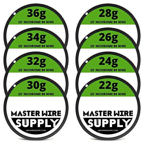 Nichrome 80 Wire Sample Pack 25' each 22,24,26,28,30,32,34,36 Gauge