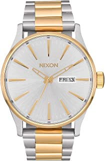 NIXON Sentry SS A364 - Silver/Gold - 108M Water Resistant Men's Analog Classic Watch (42mm Watch Face, 23mm-20mm Stainless Steel Band)