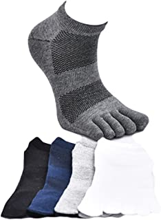 MOHSLEE Men's No Show Toe Socks Breathable Soft Athletic Five Finger Sock 5 Pack