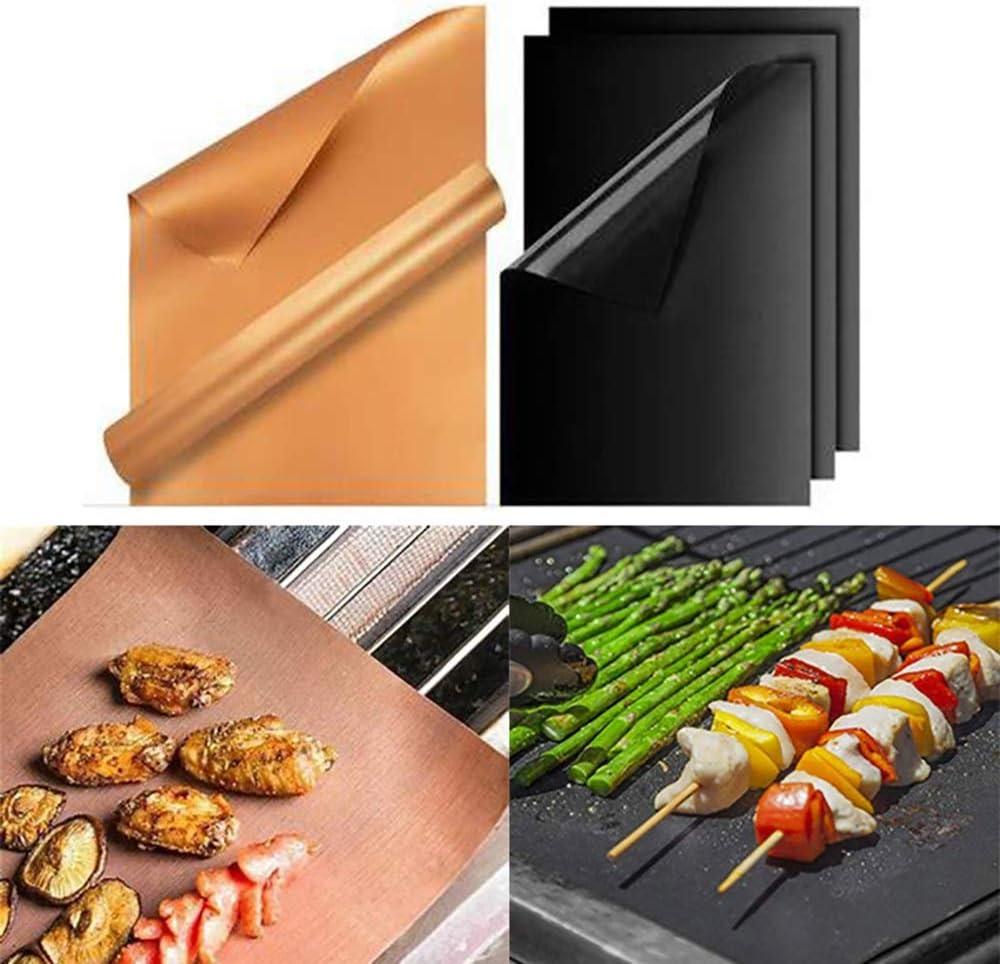 LUFKLAHN 5pcs Tapis de Barbecue de Fibres de Verre, à Haute température Anti-adhésif Mat de Barbecue résistant, Taille: 40 cm * 33 cm * 0,2 mm (Color : B) B