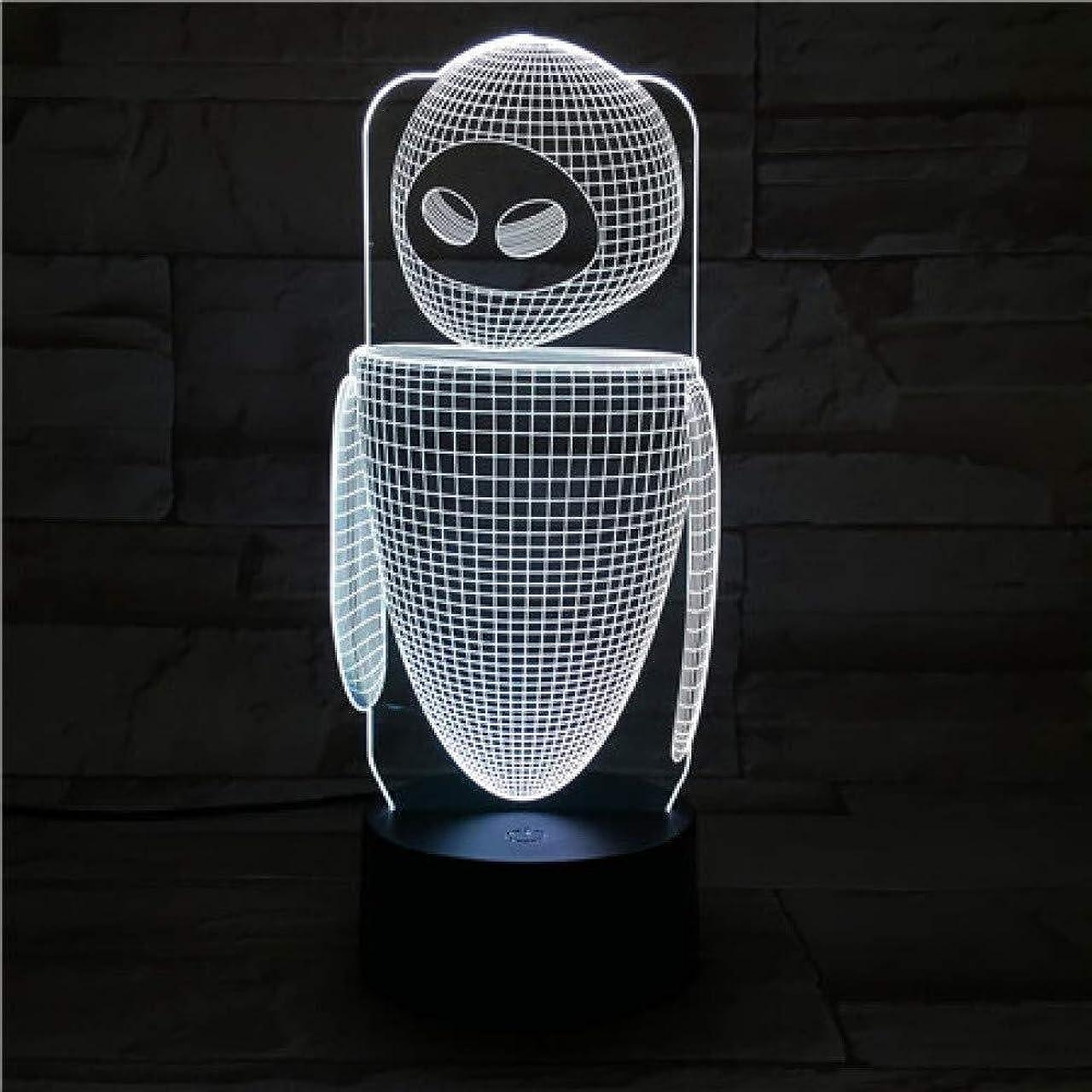 早い怠惰合金3DイリュージョンロボットモデルLEDランプタッチセンサーマルチカラーベッドルームベッドサイド装飾デスクランプキッズフェスティバル誕生日プレゼントのUSB充電
