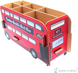 RayLineDo Pack of 1pcs Cute DIY Paper Cardboard Stationery Makeup Cosmetic Desk Decor Organizer Board Storage Box Double Decker Bus Children's Pencil Holder Pen Pot Gift for Boys or Girls