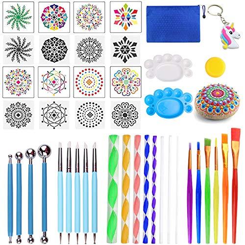 Mandala Dotting Tools,Juego de 36 piezas para pintar rocas Mandala,kit de plantilla de pintura de mandala